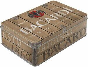 Brown BACARDI Rum Logo RECTANGULAR Storage TIN Embossed Cookie BISCUITS 2.5L