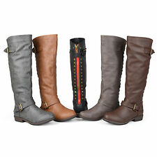 Journee Collection Womens Studded Faux leather Knee High Riding Boots New