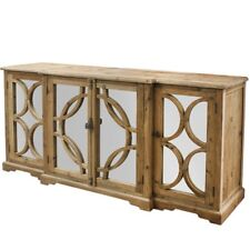 New French Provincial Style Keats Mirrored Sideboard Chest Buffet Natural Wood
