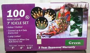 Vickerman Set of 100 Green Miniature Icicle Lights White Wire Christmas