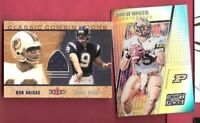 DREW BREES GAME USED JERSEY CARD W/ BOB GRIESE & PRIZM REFRACTOR PURDUE SAINTS