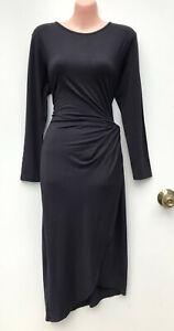 MOSS & SPY Darkest Grey Charcoal Long Sleeve Jersey Dress Waist Twist Detail 12
