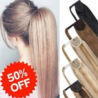 Clip In Real Remy Human Hair Ponytail Extensions Pony tail Mixed Color Highlight