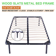 WOOD SLATS METAL BED FRAME TWIN SIZE FURNITURE FOUNDATION SLEEP GOOD PRESTIGE