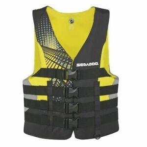 Sea-Doo New OEM Men's Nylon Motion PFD Life Jacket Vest Yellow 3XL 2858761610