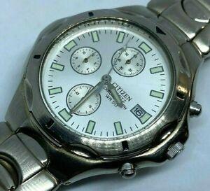 Citizen 0510 Men 50m Silver Analog Quartz Chronograph Watch Hour~Date~New Batter
