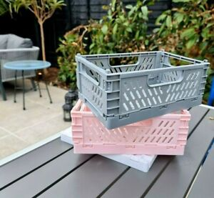 Folding Collapsible Storage Crates Plastic Basket Stacking Kitchen Store Boxes