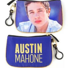 Austin Mahone Coin Purse Blue Gold Glitter & Trim AM Mahomie Wallet NWT