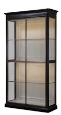 "88"" T Delfio Etagere Solid Walnut Casing Tempered Glass Brass Framed Doors"