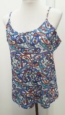 BNWT M&Co Ladies Size 20 White Blue Paisley Strappy Top Summer Curve Fashion New