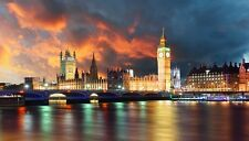 London Night Scena Big Ben Ponte House of Parlamento Fiume Tamigi Poster Stampa