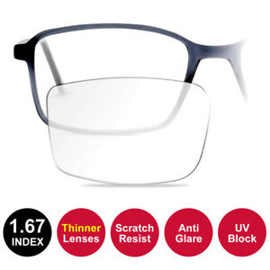 1.67 THINNER Coated RX Lenses Fitted to Frame - Anti Glare / Scratch Resist / UV