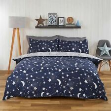 Dreamscene Moon Stars Galaxy Duvet Cover With Single Navy Blue Grey