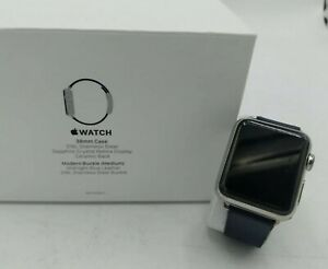 Apple Watch Series 1, 38mm, Stainless Steel Case, Modern Blue Leather Band Sz M