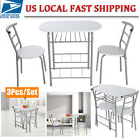 3 Piece Dining Table Set & 2 Chairs Steel Kitchen Dining Room Furniture White US