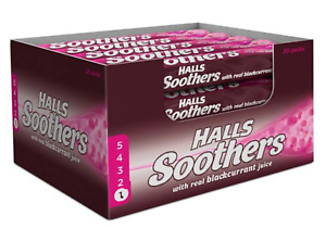 HALLS SOOTHERS WITH REAL BLACKCURRANT JUICE.PACK OF 20x45g.