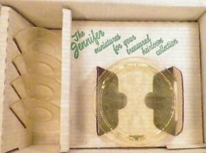 Mosser Glass Jennifer Set Cake Set Platter 4 Plates Gold Krystal Child's Toy OB