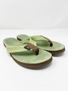 Rainbow Light Green Leather Flip Flops Thong Sandals 8.5-9