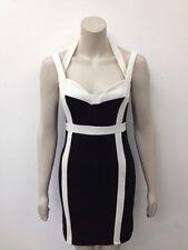 "Atmosphere - Black + White ""Monochrome"" Strappy Bodycon Dress UK 12 (W589)"