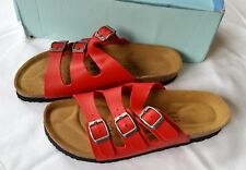 NIB JOE N JOYCE Strappy 3-strap Ladies Sandals Paris SynSoft Red  L 7 Euro 38