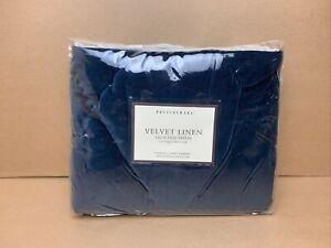 Pottery Barn Teal Velvet Pillow Sham Quilted Standard Linen Backing - NEW