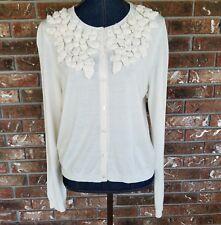Ann Taylor Women's Size Large Cream Cardigan Sweater Button Front Rosebuds Yoke