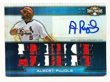 2011 TOPPS TRIPLE THREADS ALBERT PUJOLS AUTO 1/1 RELIC 3 COLOR