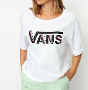 VANS Bundlez Bell T Shirt White Floral Women's Loose Boxy Fit New