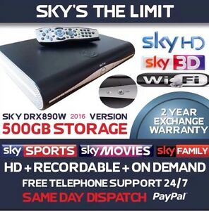 SKY HD BOX PLUS WIFI, DRX890W, Built In Wifi, 500gb, Sky hd Remote