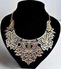 Charlotte Anne Gorgeous Metal Lace Bib Necklace Gold US SELLER! Armoire Jolie