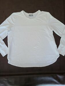 Athleta Women's Pullover athletic Top Size 1X  White Long Sleeve Nylon Spandex