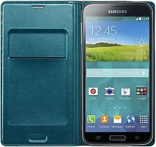 NEW GENUINE SAMSUNG BLUE FLIP WALLET CASE COVER FOR GALAXY S5 EF-WG900BGEGWW