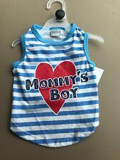 "PET SPIRIT Blue Stripe T-Shirt  ""MOMMY'S BOY""  Puppy/Dog xsmall"