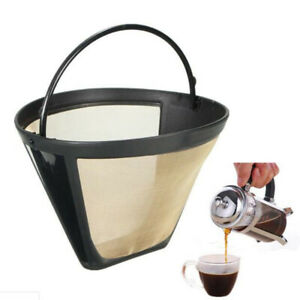 Reusable Gold Tone Permanent #4 Cone Shape Coffee Filter Mesh Basket Filter  BH