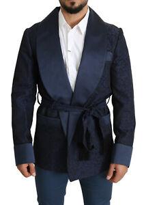 DOLCE & GABBANA Blazer Blue Floral Jacquard Belted Robe Coat IT52/US42/XL
