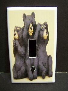 BLACK BEARS HEAR SPEAK SEE NO EVIL #1 TAN & BLACK  LIGHT SWITCH COVER PLATE