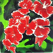 """Floral Art Tile """"Carnations"""" 8x8 Flowers Wall Shelf Nusery Gift Home Decor Boxed"""