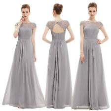 Ever-Pretty 2018 Long Bridesmaid Lace Dresses Wedding Evening Formal Party Grey 16
