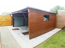 Wood Effect Metal Garage 12x10ft Bike Shed for Motorbike or Garden Equipment