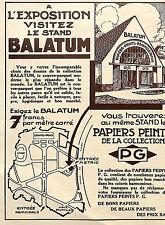 BALATUM STAND EXPOSITION INTERNATIONALE BRUXELLES PUBLICITE 1935