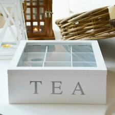 Wooden Tea Box 9 Compartments Hinged Glass Lid Spice Coffee Capsule Holder Food