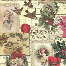 Lot de 4 Serviettes en papier Noël Vintage Decoupage Collage Decopatch