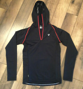 Bontrager long sleeved cycling jersey hooded .black and red .medium