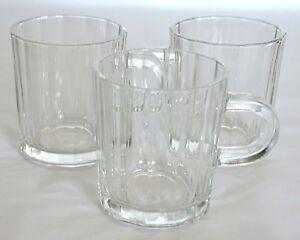 3 Bormioli Rocco Oxford Mugs Cups Demitasse Espresso Cappuccino Glass Italy 8 oz