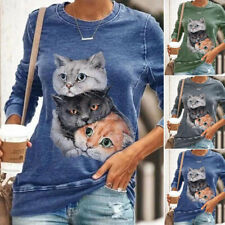 Womens Long Sleeve Round Neck Tops T Shirt 3D Cat Printed Casual Loose Blouse UK
