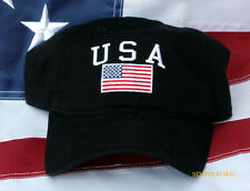 USA SCRIPT FLAG HAT EMBROIDERED BLACK CAP PIN UP STARS N STRIPES VETERAN GIFT