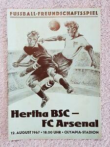 1967 - HERTHA BERLIN v ARSENAL PROGRAMME - FRIENDLY - 67/68
