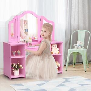 2 in 1 Kinder Schminktisch Schreibtisch Frisiertisch mit Spiegel Schreibtisch