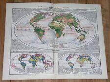 1943 ORIGINAL VINTAGE MAP OF THE WORLD VEGETATION / INDUSTRY COMMERCE