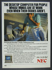 1988 NEC PowerMate Portable Desktop Computer photo vintage print Ad